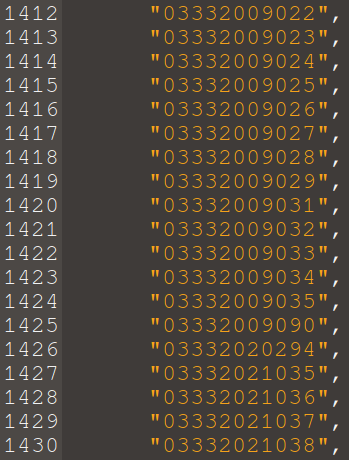 A long list of phone numbers, all with the same prefix.