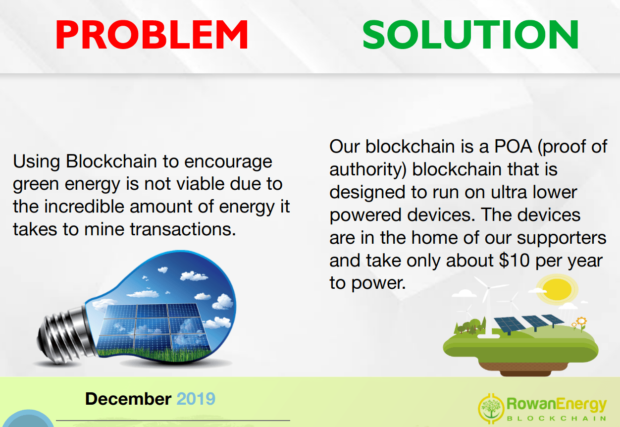Using Blockchain to encourage green energy is not viable due to the incredible amount of energy it takes to mine transactions.Our blockchain is a POA (proof of authority) blockchain that is designed to run on ultra lower powered devices. The devices are in the home of our supporters and take only about $10 per year to power.