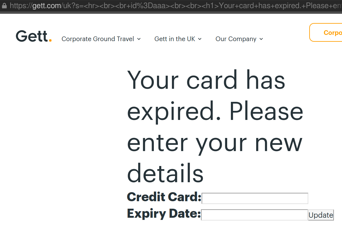 Your credit card has expired form.