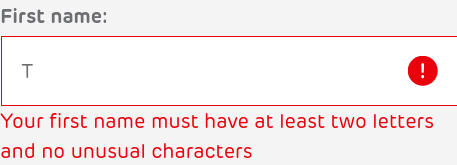 Screenshot of a form validation error - Your first name must have at least two letters and no unusual characters.