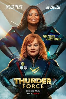 Movie poster featuring two older women in skintight superhero costumes.
