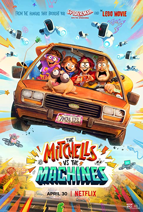 Movie poster witha madcap animated family in a car.