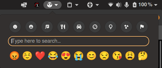 Search bar and some common emoji.