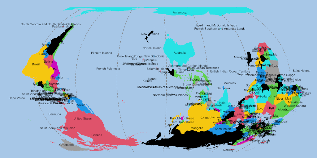 Map of the world, south up, NZ in the centre, with labels and colours.