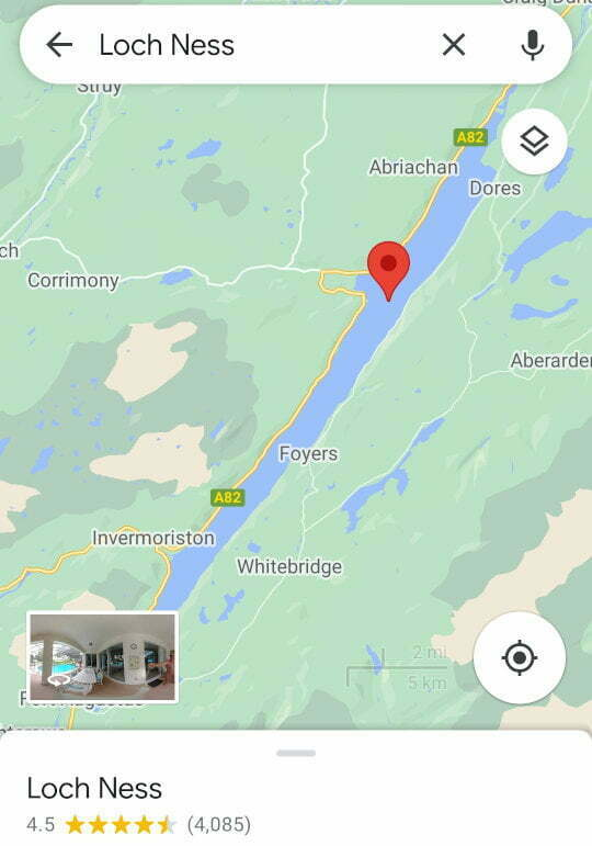 Screenshot of Loch Ness on Google Maps.