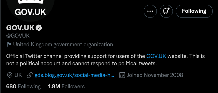 Screenshot of the GOV.UK Twitter Account. Twitter have added a flag and label saying it is state affiliated.