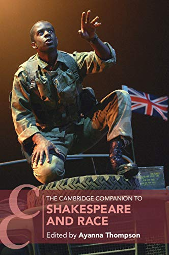 A young, black actor, dressed in modern military clothing, performs a scene from Shakespeare.
