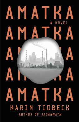 Book cover - the title Amatka repeats over and over and over again.