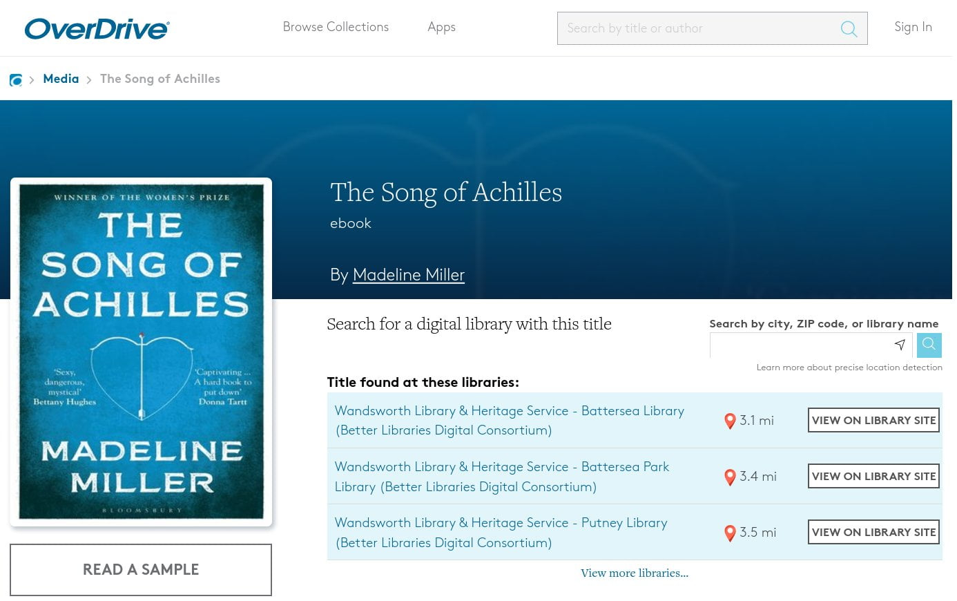 OverDrive web page showing which local libraries have the book to borrow.