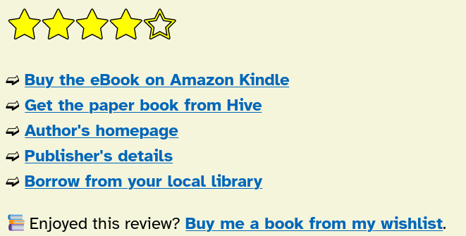 List of links to buy the book at Amazon or hive, the publisher's site, the author's site, and borrow from a local library.