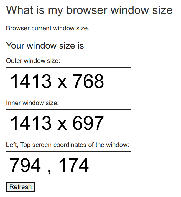 The Outer window size is 1413 by 768.