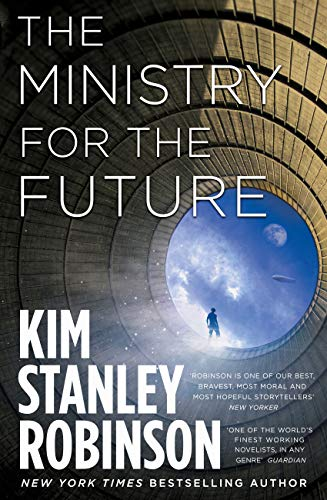 Book cover - a human stands in a massive tube and looks at the sky.