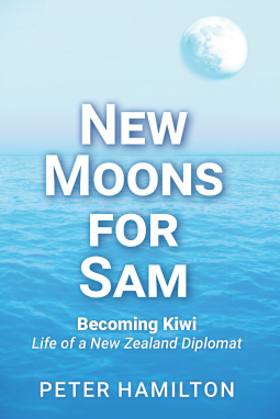 Book cover showing a moon rising over the sea.