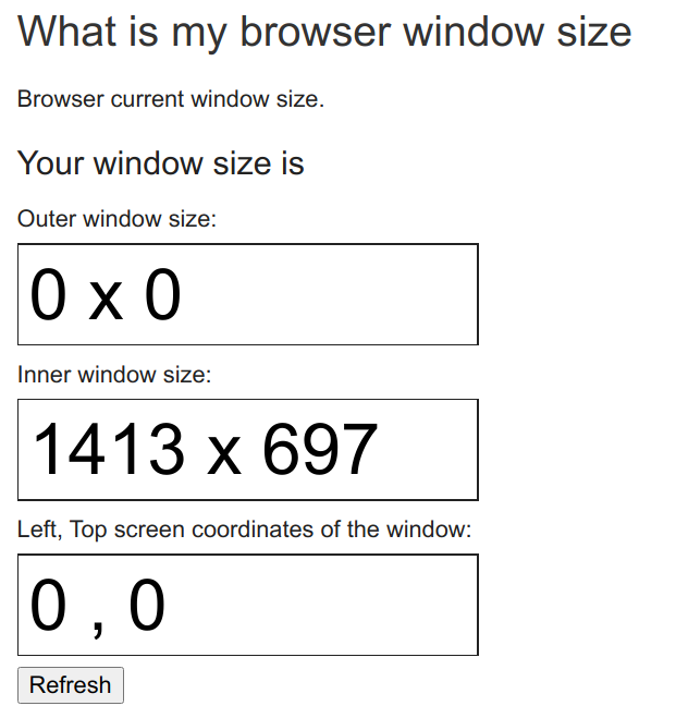 The Outer window size is zero by zero.