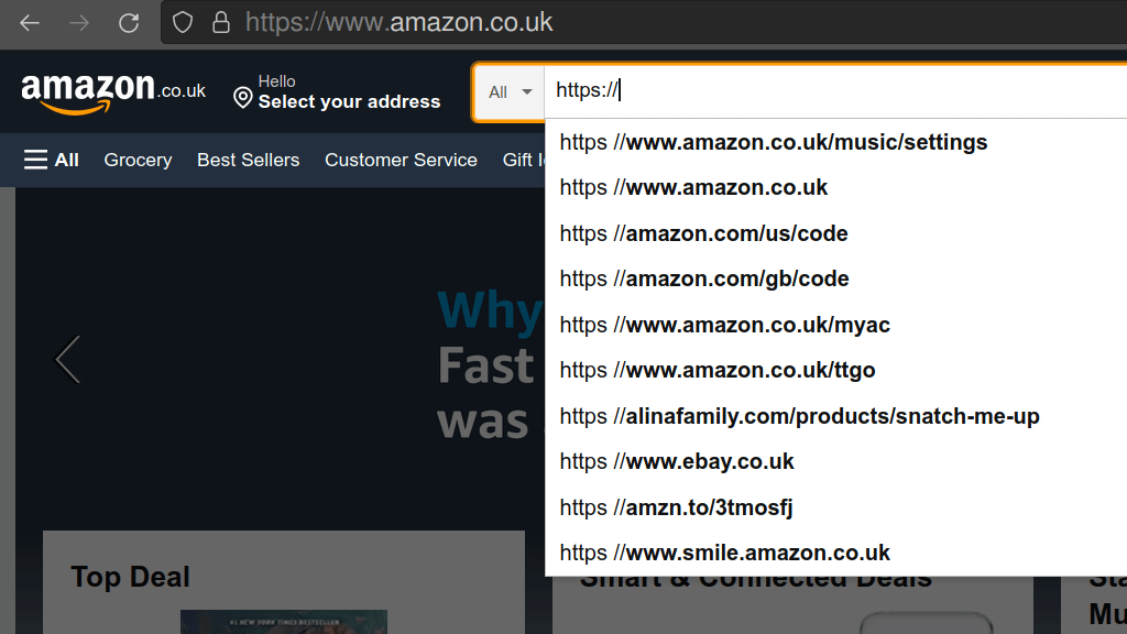 Search results for https in Amazon's autocomplete. Includes links to ebay and other stores.