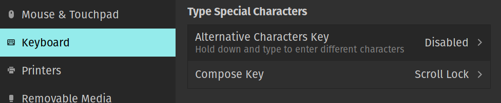 Screenshot of the Type special characters setting.