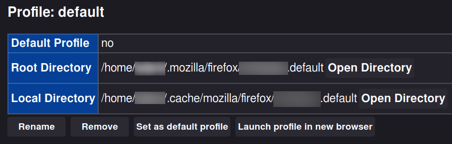 Screenshot of the profiles screen.